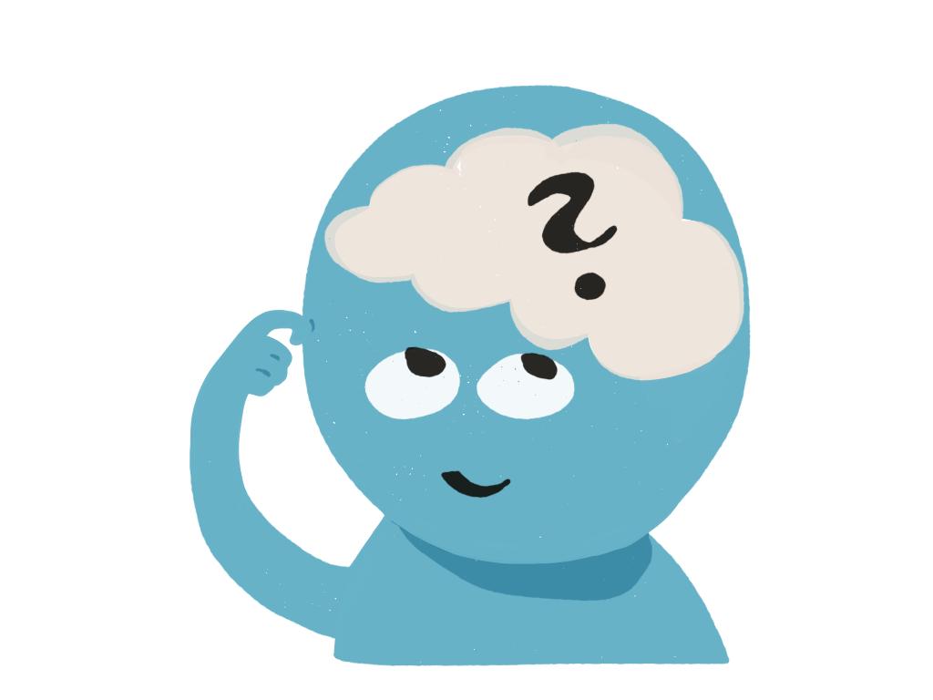 Modrý panáček, který se kouká nahoru dovlastní hlavy, tam je mozek av něm otazník.
