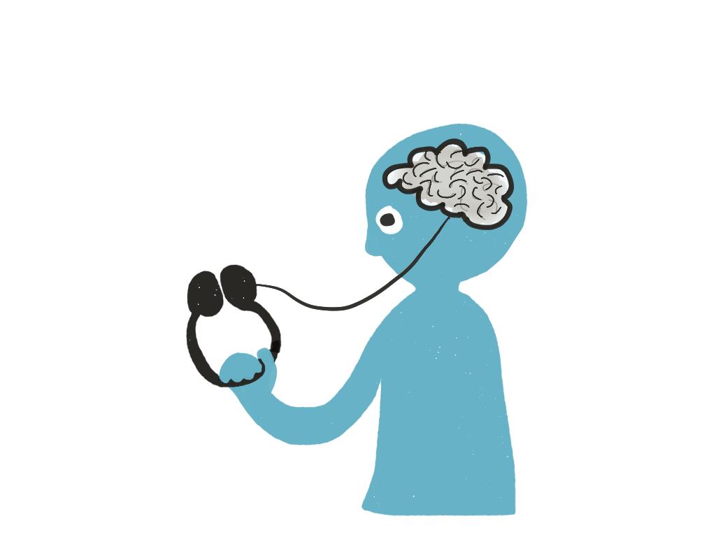 Modrý panáček, drží sluchátka, jejich šňůra vede dojeho mozku.