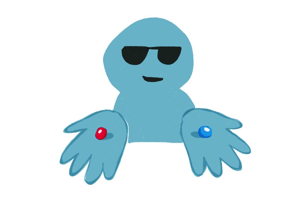 Modrý panáček stmavými brýlemi nabízí vdlani červenou amodrou pilulku